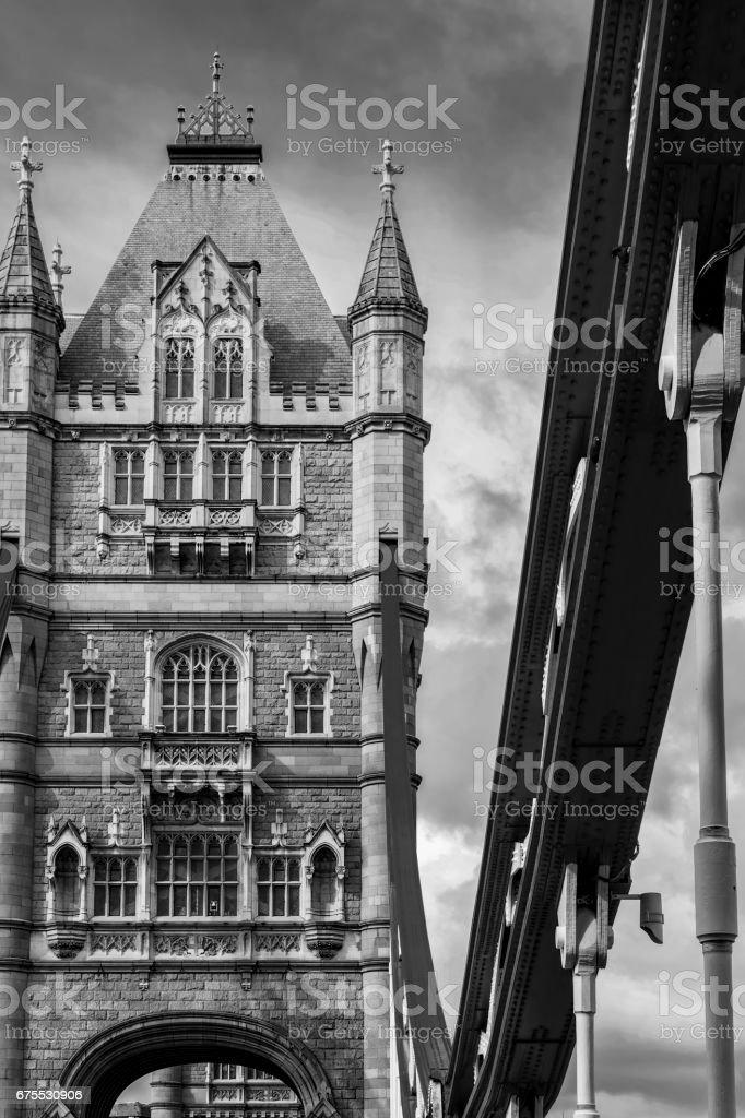 Noir et blanc London Tower Bridge sur la Tamise photo libre de droits