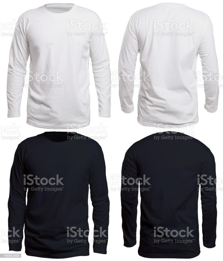 Black and White Long Sleeve Shirt Mock up stock photo