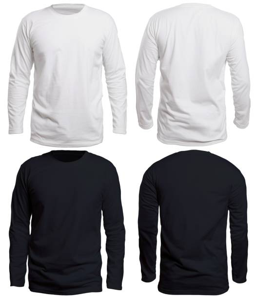Black and White Long Sleeve Shirt Mock up stock photo