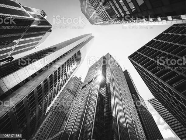 Black And White Looking Up Chicago Skyscrapers Stock Photo - Download Image Now