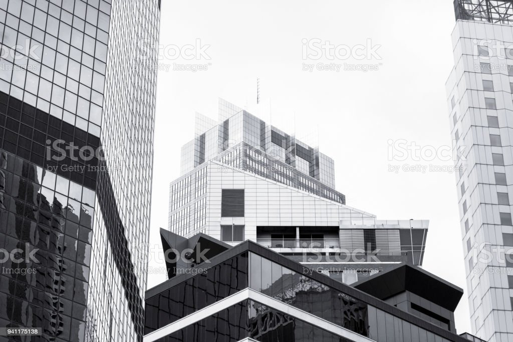 Low Angle View Of Modern Office Buildings Photo: Royalty Free Black And White Photography Sydney Pictures