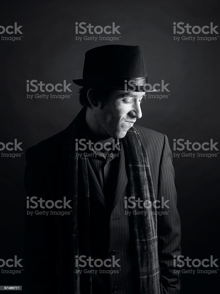 Black and White Male Portrait royalty-free stock photo