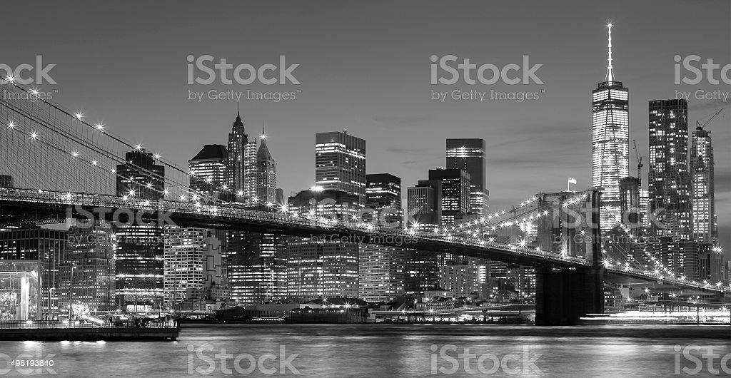 Black and white Manhattan waterfront at night, NYC. stock photo