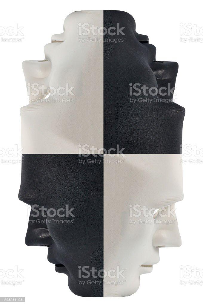 Preto e branco de máscaras de comportamento humano, Conceição  foto royalty-free