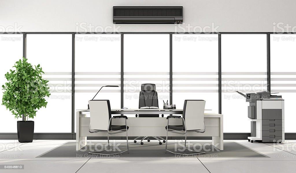 Black and white minimalist office stock photo