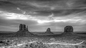 Black and white Monument Valley - classic American West landscape