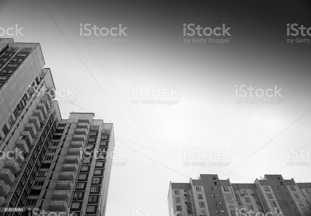 Black and white Moscow city buildings background stock photo