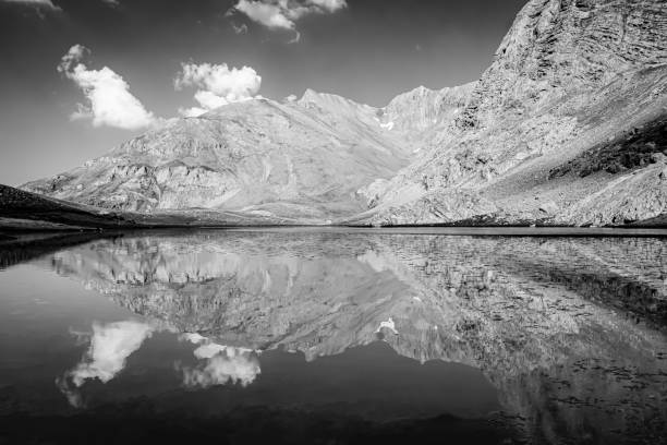 Black and white mountain landscape and mountain reflection. Nigde, Bolkar, Turkey Lake, Mountain, Nature, Taurus, Turkey - Middle East, Valley, Tourism, Water, Sunlight, Environment, National Park, Black and White reflection lake stock pictures, royalty-free photos & images