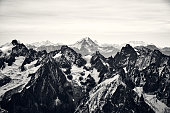 istock Black and white mountain landscape in the Alps, France. 1206682986