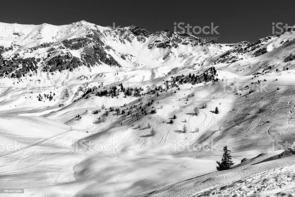 black and white mountain landscape, Pila, Italy stock photo