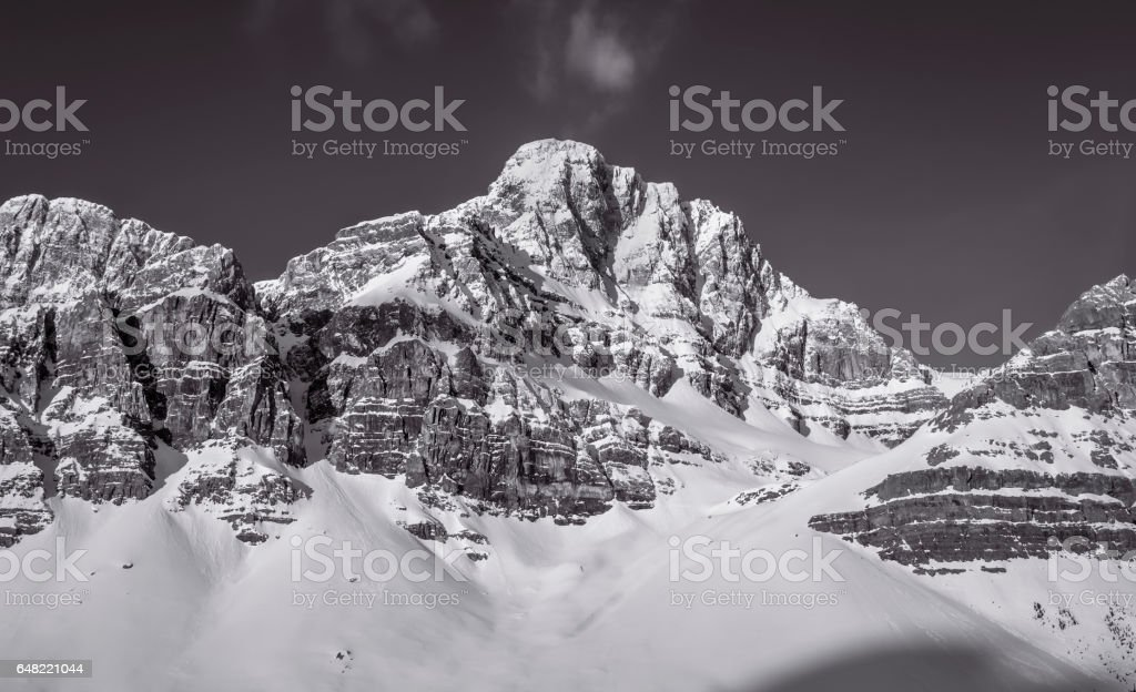 Black and White Mountain Range stock photo
