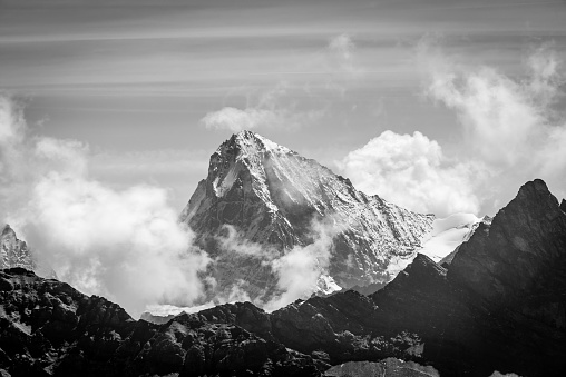 Black and white mountain scenery