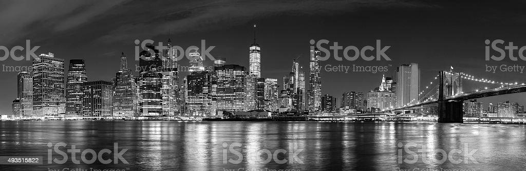 Black and white New York City at night panoramic picture. stock photo