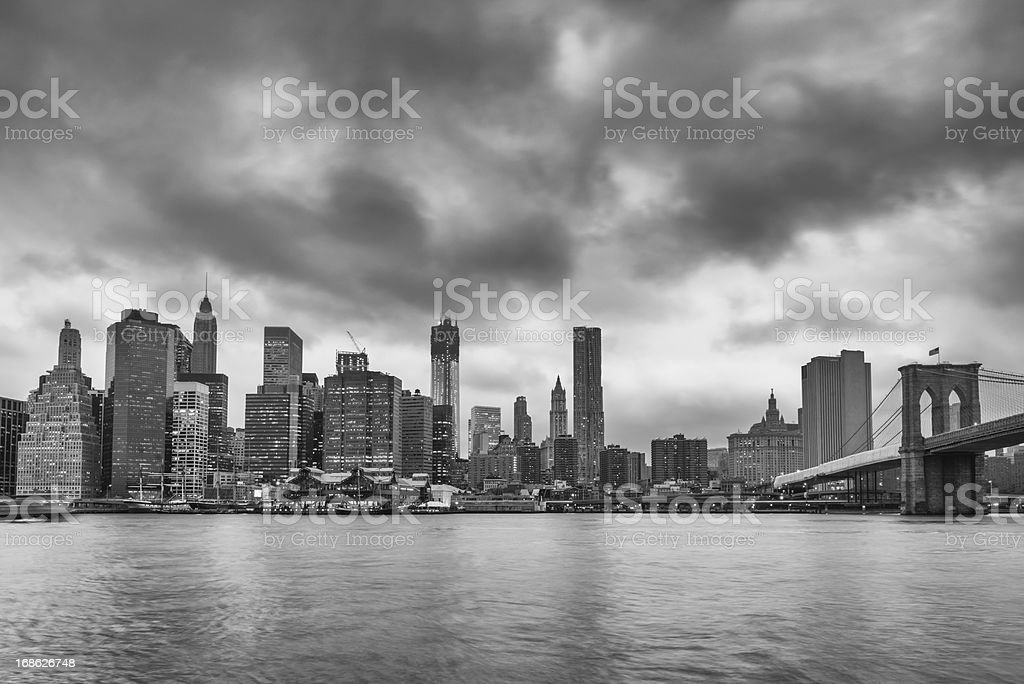 Black and White New York City Skyline royalty-free stock photo