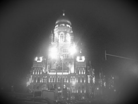 Black And White Night Light View Of Mcgm Stock Photo - Download Image Now