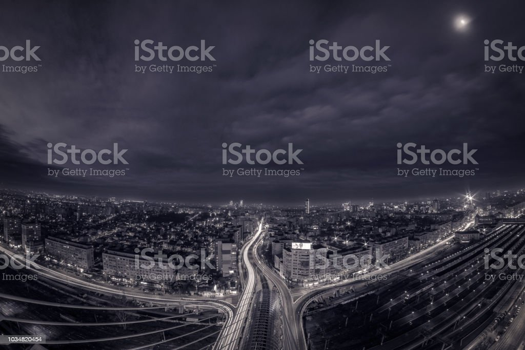 Black and white night scene panorama skyline over the city stock photo