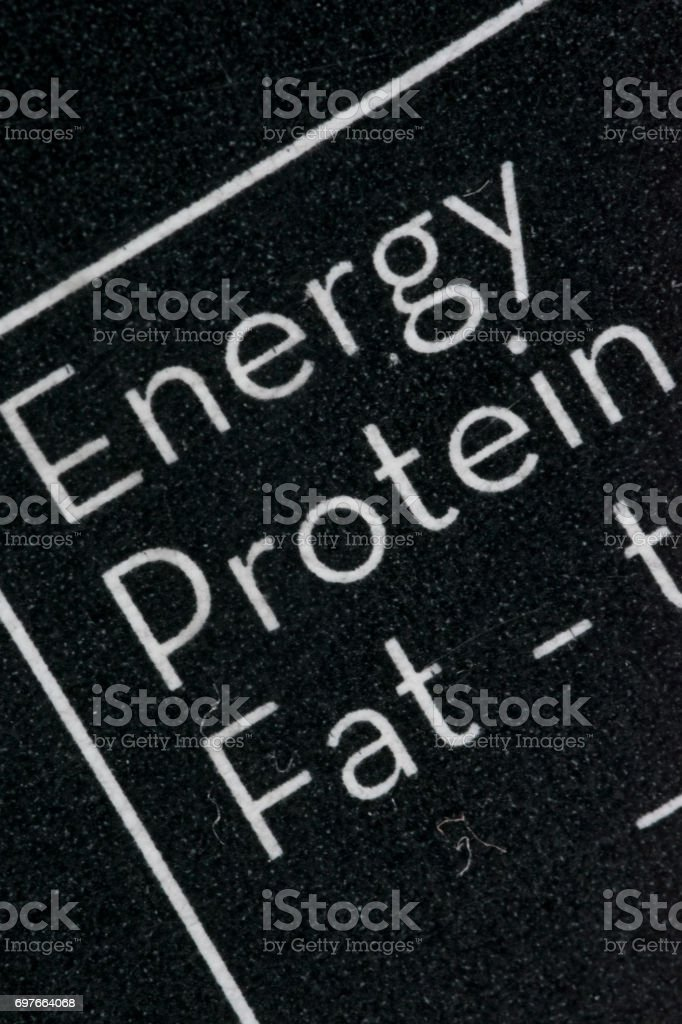 Black and white nutrition facts table macro stock photo