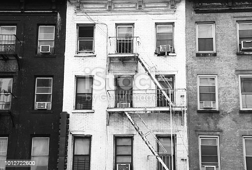 Black white and grey tenement buildings in New York City