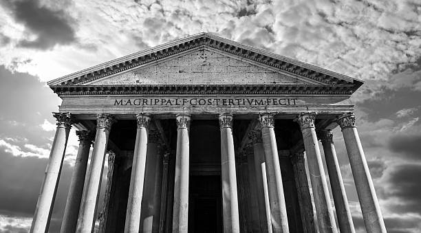 Black and white of ancient Roman Pantheon in Rome, Italy stock photo