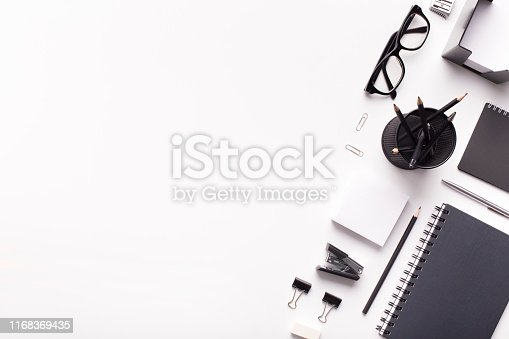 Black and white Office stationery with white copy space for advertisement on background