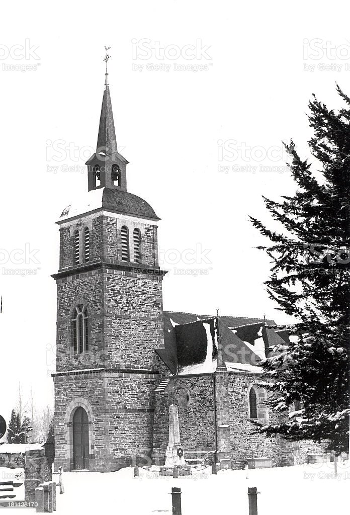 Black and white old church royalty-free stock photo