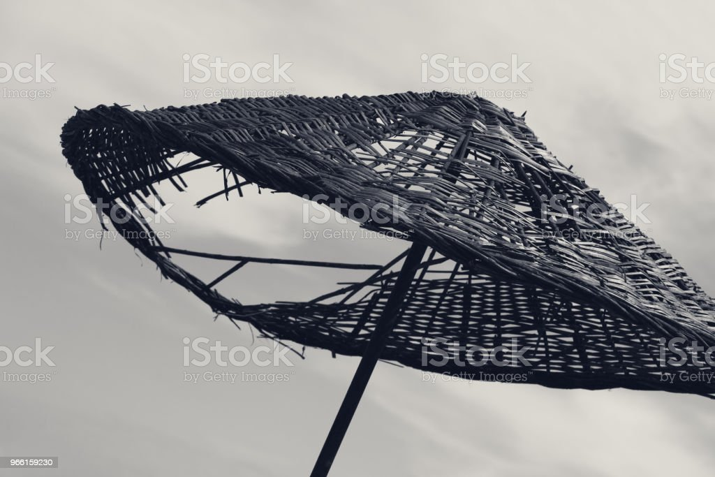 Black and white old sunshade with hole - Royalty-free Awning Stock Photo