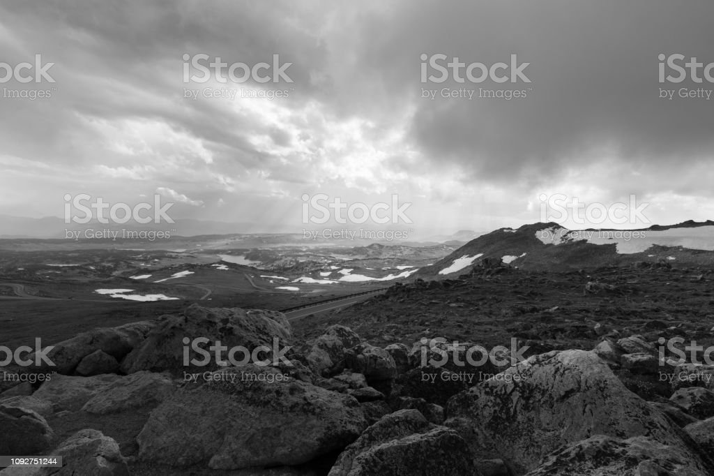 Black and White Ominous Sky Mystical Montana Landscape