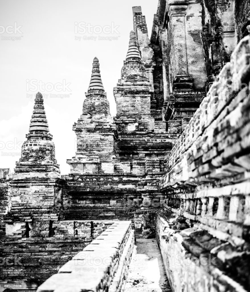 Black and white on top of a Temple in Bagan Myanmar stock photo