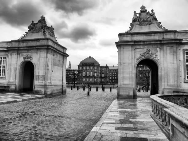 Black and White outdoor shot of Marmorbroen Bridge, Copenhagen Denmark stock photo