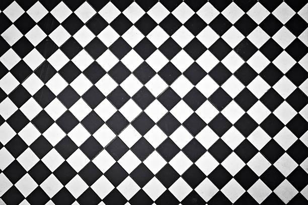 Black and white outdoor tiles stock photo