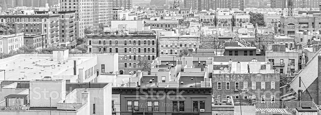 Black and white panorama of Harlem and Bronx, New York. stock photo