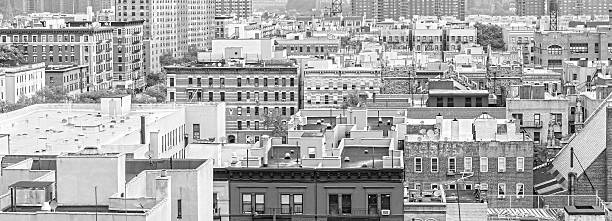 Black and white panorama of Harlem and Bronx, New York. stock photo