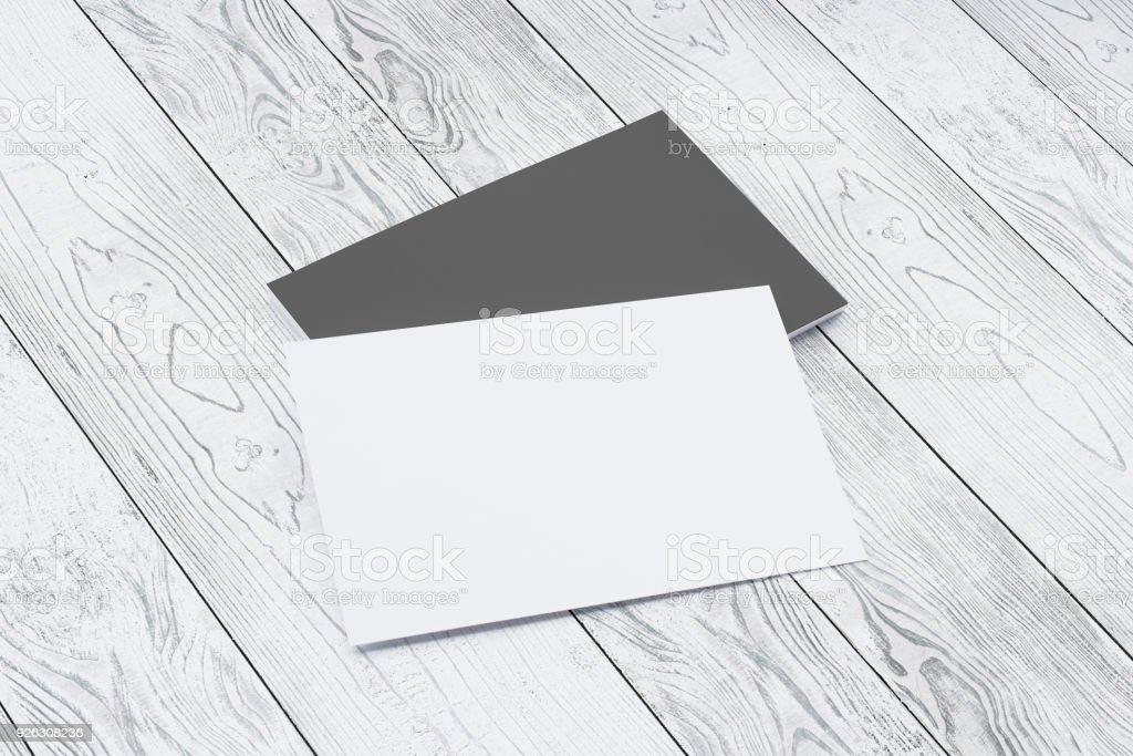 Schwarz Weiß Papier Visitenkarten Auf Holz Schreibtisch Bild