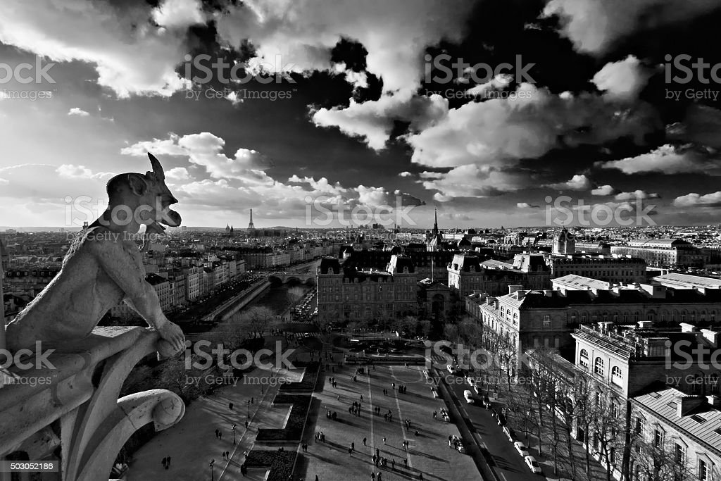 Black and white Paris panorama shot from Notre Dame cathedral stock photo