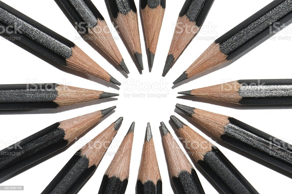 Black and White Pencil Circle From Above (Zoomed In) royalty-free stock photo