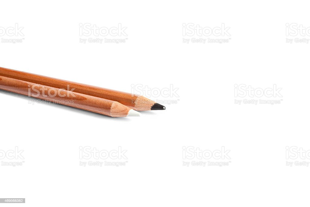 Black and white pencils in white background stock photo