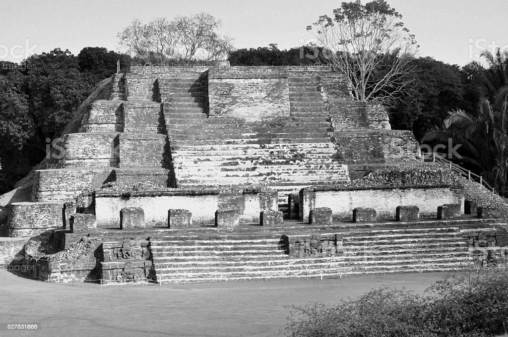 Black and white photo Altun HA Mayan Temple in Belize stock photo