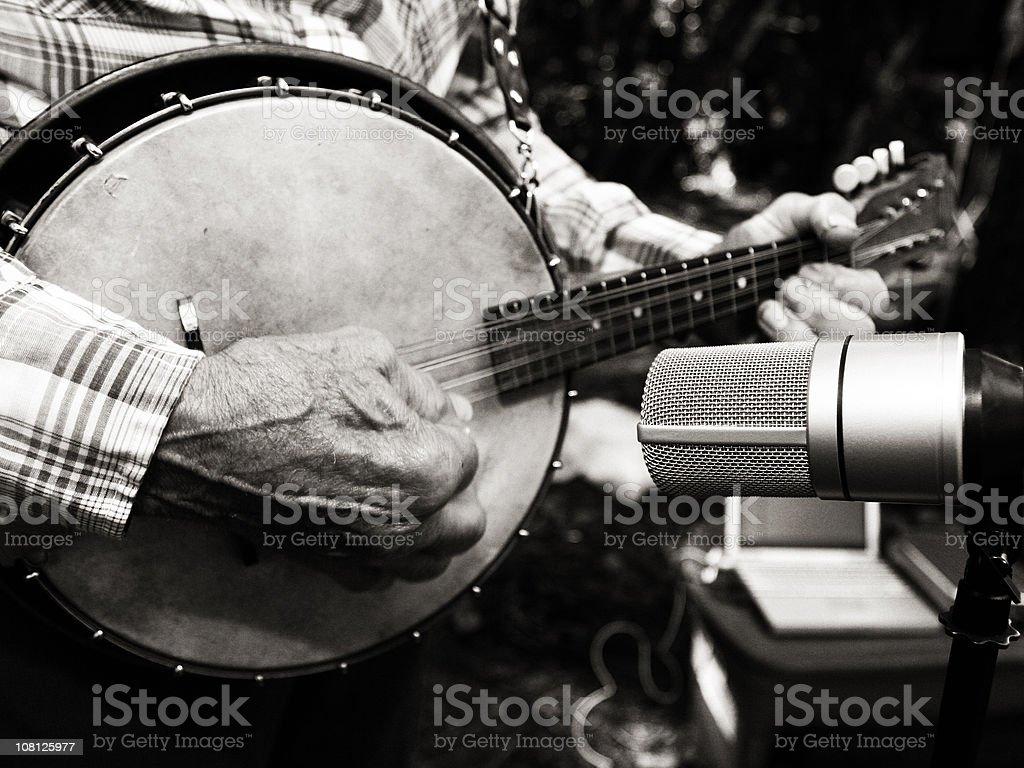 Black and White Photo of a Banjo stock photo