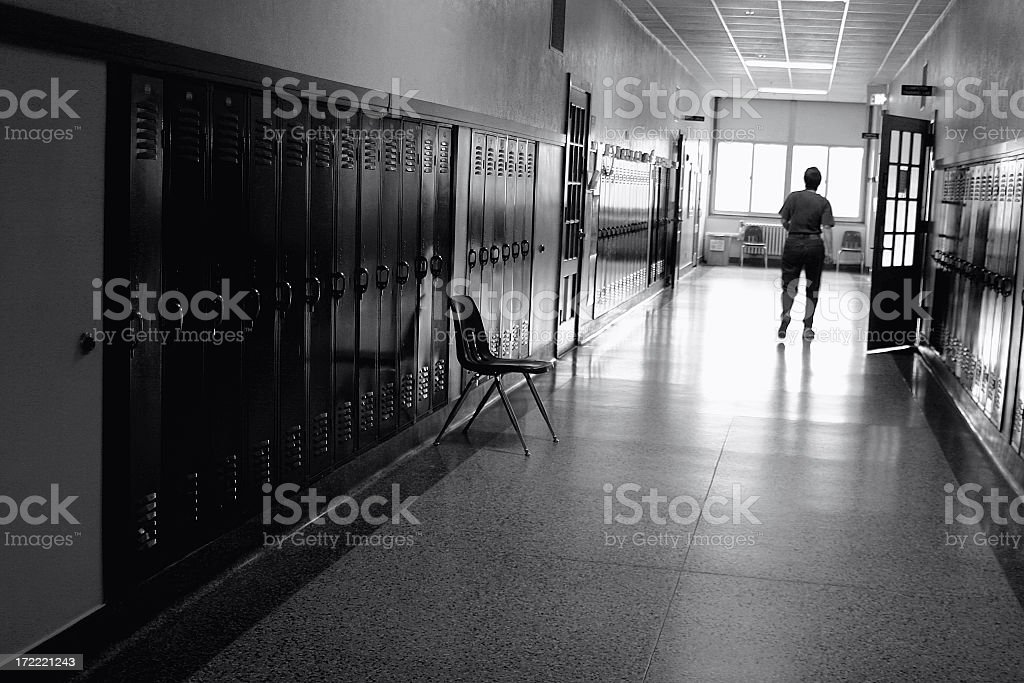 Black and White Photo of a School Hallway royalty-free stock photo