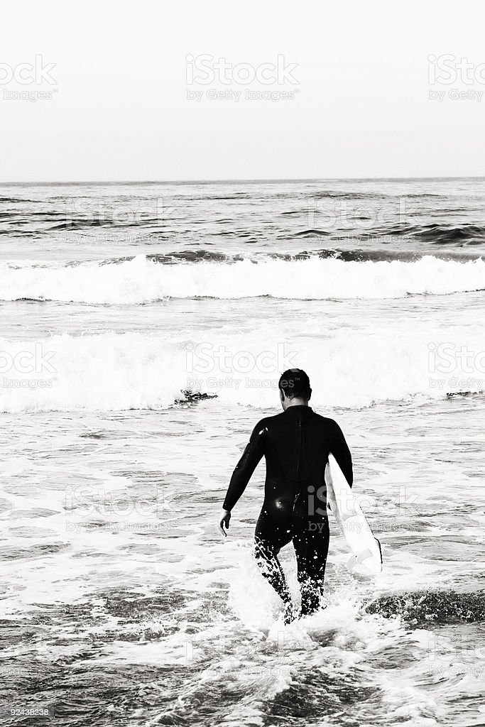 Black and White Photo of a Surfer royalty-free stock photo