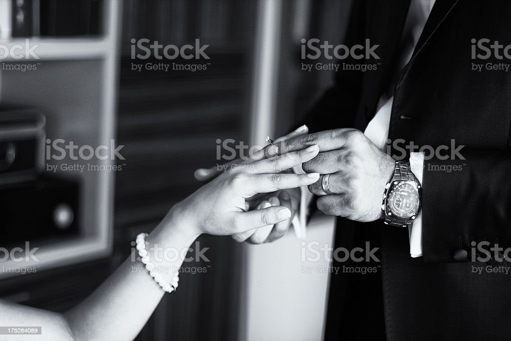 Black and white photo of an engagement stock photo