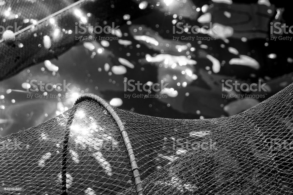black and white photo of empty fishing nets above  water with reflections of the sun stock photo