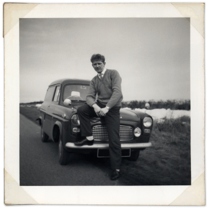 High res scan of an vintage portrait of man and his van