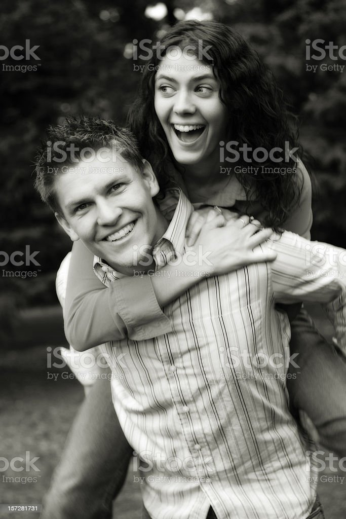Black and White Photo of Young Couple royalty-free stock photo