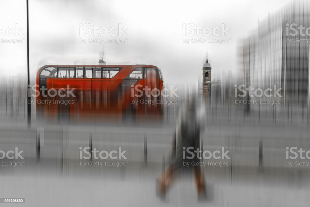 Black and white photo with red double decker bus in London stock photo