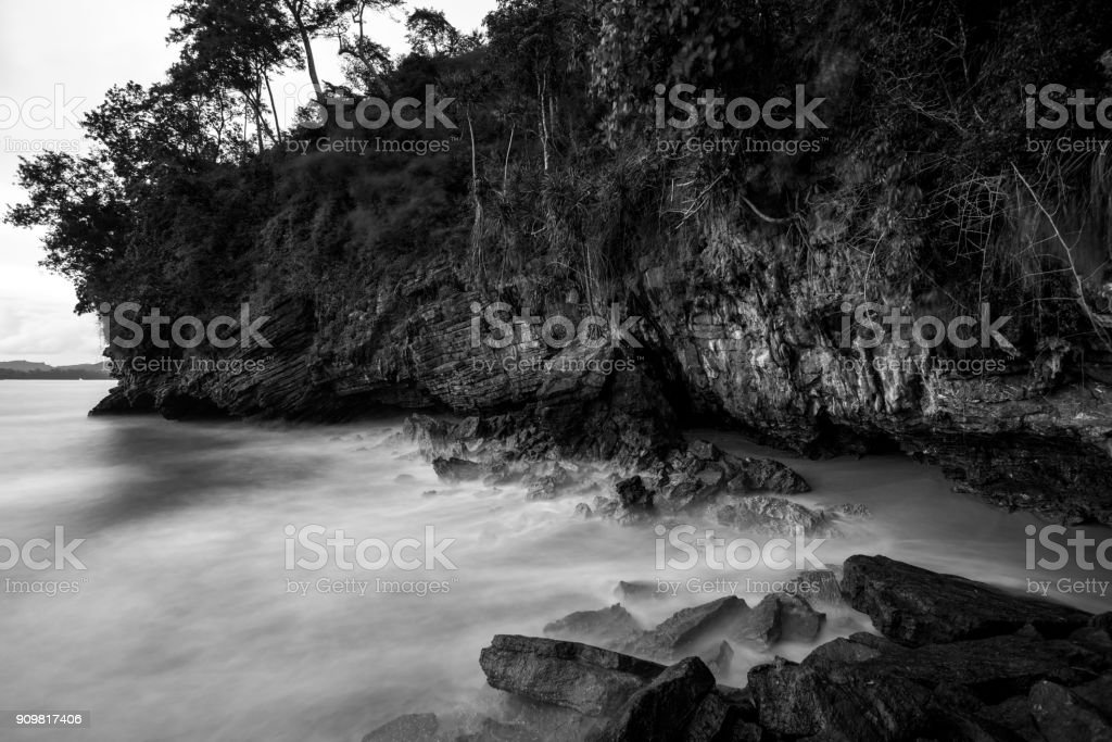 black and white photography landscape sea waves and rocks