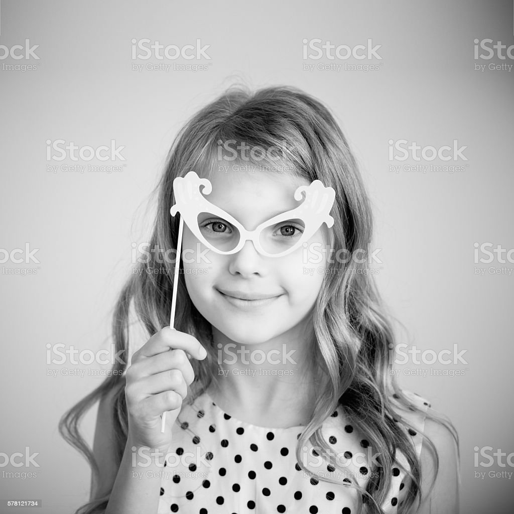 Black and white photography of a lovely little girl stock photo