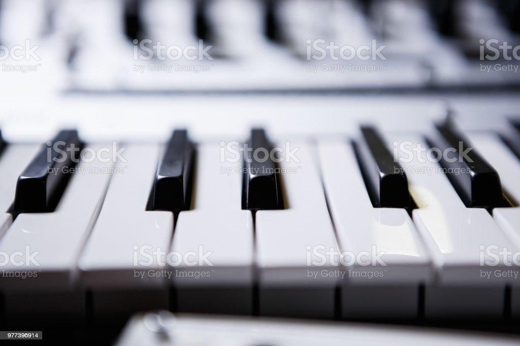 Black And White Piano Keys On Digital Midi Controller Piano Stock