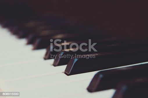 Black and white piano keys closeup.