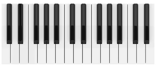 Black and White Piano Keys Black and White Piano Illustration. 3D render synthesizer stock pictures, royalty-free photos & images